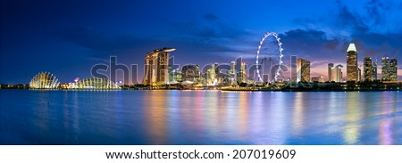 Singapore  in twilight a view into Marina Bay - stock photo