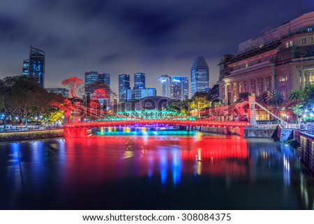 Singapore is building the bridge at night and light colors.