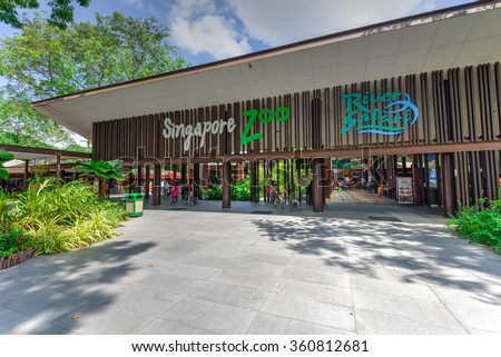 SINGAPORE-JAN 10, 2016: Entrance to Singapore Zoo, or Zoological Gardens, or locally is Mandai Zoo. There are about 315 species of animal in the zoo, attracts about 1.7 million visitors each year - stock photo