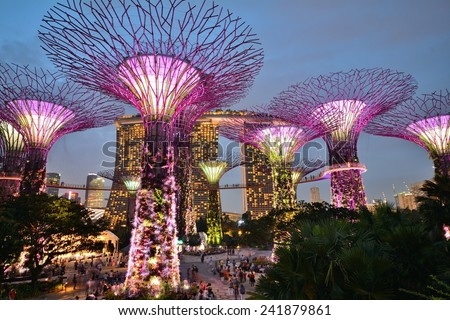 SINGAPORE - January 19, 2014: Gardens by the Bay is a park or botanic garden in Singapore. - stock photo