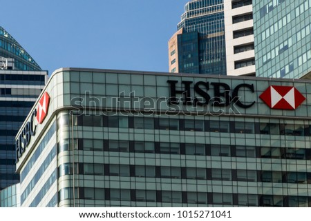 Singapore - January 30, 2018. HSBC building in the financial district of Singapore.