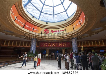 SINGAPORE- JANUARY 6:  Interior hall at the casino on Sentosa Island, Singapore on January 6, 2014. Sentosa is a popular island resort in Singapore, visited by some five million people a year. - stock photo