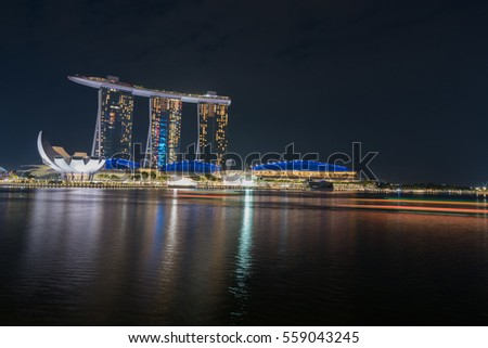 Singapore - January 6,2017: Marina Bay Sands, a famous boat shape structure, consist of hotel, casino, and shopping mall.
