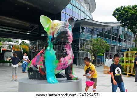 SINGAPORE - JANUARY 1: Modern art in Marina Bay at January 1, 2015 in Singapore. Singapore is one of the cultural capitals of the world. - stock photo