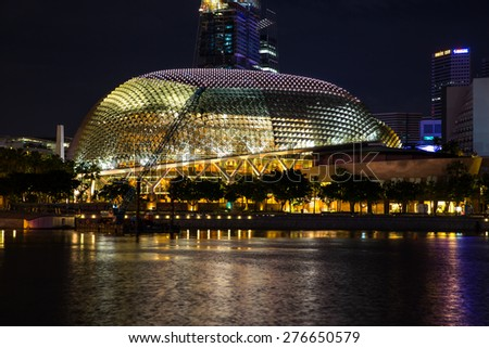 Singapore - January 5, 2015: Night view of the cityscape near Marina Bay. - stock photo