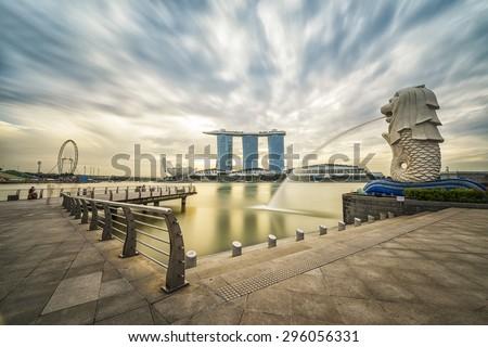 Singapore, 31 January 2015, Sunrise in the morning at Merlion, Marina Bay, Singapore - stock photo