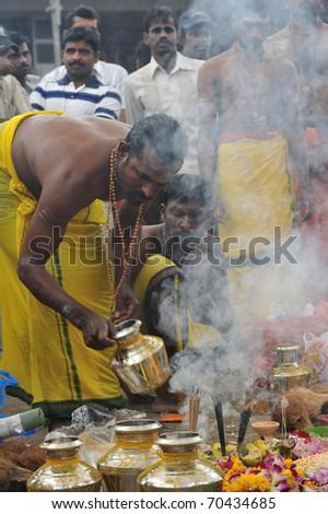SINGAPORE - JANUARY 20: Thaipusam Festival in Little India Sri Perumal Temple at Serangoon Road on January 20, 2011 in Singapore - stock photo