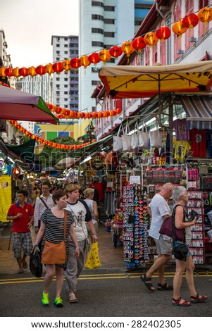Singapore, January 5, 2015: View of Chinatown, an ethnic neighbourhood featuring distinctly Chinese cultural elements and a historically concentrated ethnic Chinese population. - stock photo