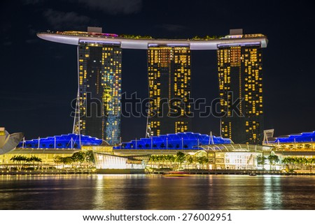 Singapore - January 6, 2015: View of Marina Bay Sands resort in Singapore. - stock photo