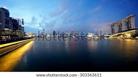 Singapore, Jul 25, 2015: Night Cityscape at Marina Bay Singapore - stock photo