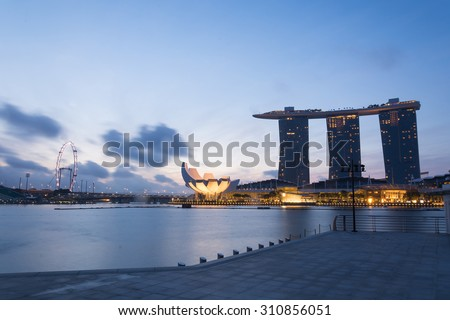 SINGAPORE, JUL 16 2015 : The Marina Bay Sands Resort Hotel, billed as the world's most expensive standalone casino