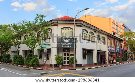 SINGAPORE - JULY,22 :China town district where is decorated in ancient style building.There are many tourists visiting everyday.SINGAPORE JULY,22 2015
