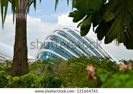 SINGAPORE-JULY 7: Close up of Flower Dome exterior at Gardens by the Bay on July 7 , 2012 in Singapore. Spanning 101 hectares of reclaimed land in central Singapore, adjacent to Marina Reservoir. - stock photo