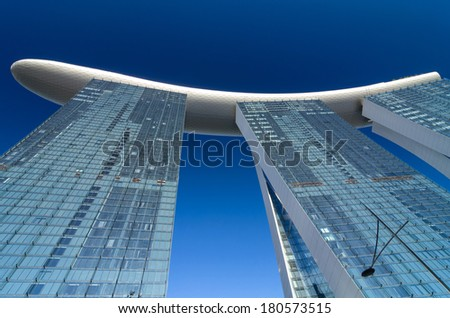 SINGAPORE - JULY 8 : Marina Bay sand which is one of Singapore cityscape Modern building around Marina Bay on July 8, 2012 in Singapore. - stock photo