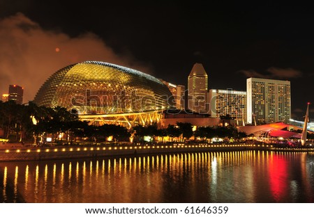 SINGAPORE - JULY 17: The Esplanade Convention Centre at Marina Bay July 17, 2010 in Singapore. - stock photo