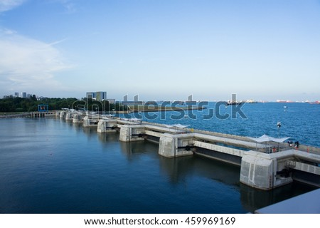 SINGAPORE - JULY 8, 2016: View of Marina Barrage near Garden by the bay, Singapore