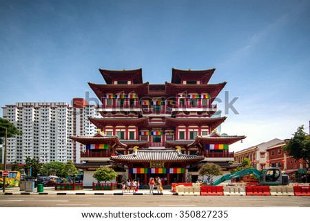 SINGAPORE-Jun 15,2013: Buddha Tooth Relic Temple in China Town Singapore