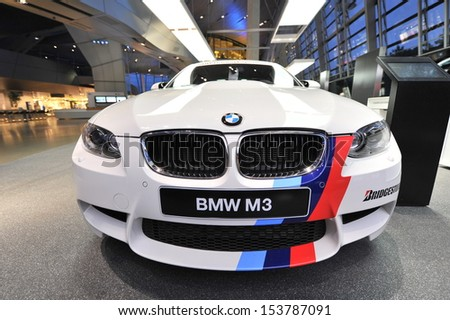 SINGAPORE - JUNE 07: BMW M3 safety car on display at BMW World on June 07, 2013 in Singapore
