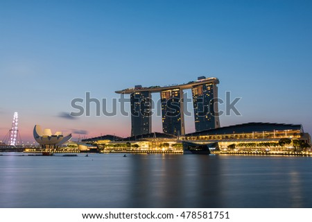 SINGAPORE - JUNE 26, 2015 : Landscape of the Singapore city at sunrise on June 26, 2015 in Singapore.