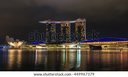 SINGAPORE - June 19, 2016: Marina Bay Sands hotel in the blue hour evening .One of greatest casinos in world.