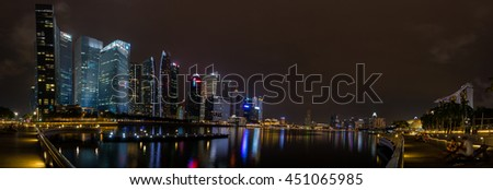 SINGAPORE - June 19, 2016 : night view of Singapore downtown and marina bay