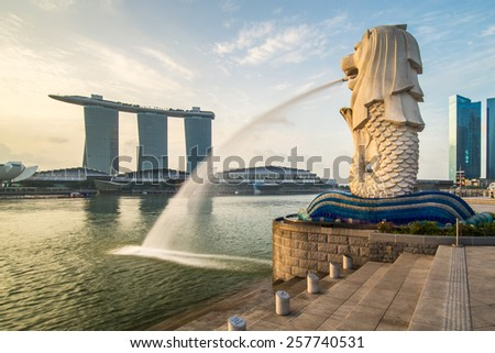 Singapore June 15 , Singapore center with Merlion and skyscrapers at early morning on 15 June 2013 - stock photo