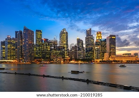 SINGAPORE - JUNE 26 : Singapore Skyline and Marina bay on June 26, 2014. Marina Bay is a bay near Central Area in the southern part of Singapore.