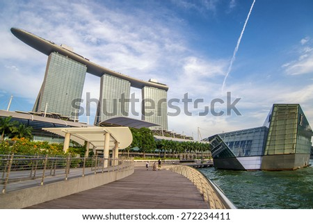 Singapore June 15 ,Singapore Skyline and view of Marina Bay on 15 June 2013 - stock photo
