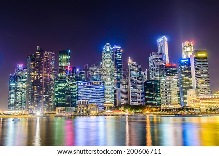 SINGAPORE - JUNE 25: Urban landscape of Singapore. Skyline and modern skyscrapers of business district Marina Bay Sands at most financial developing Asian city state. Singapore, JUNE 25, 2014 - stock photo
