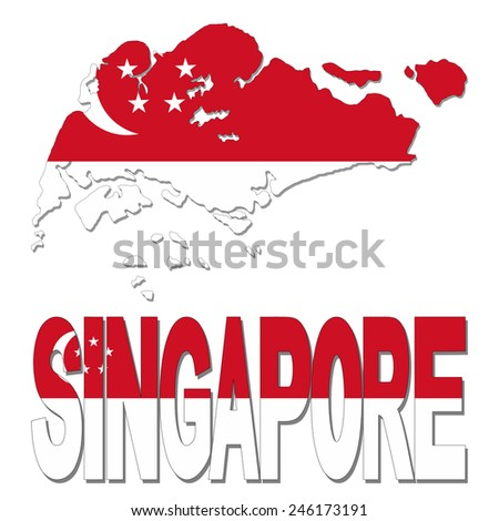 Singapore map flag and text illustration - stock photo