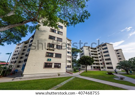 Singapore, 10 Mar 2016: Dakota Crescent, one of Singapore's oldest public housing estates, was built in 1958 and is scheduled to be demolished for redevelopment. - stock photo