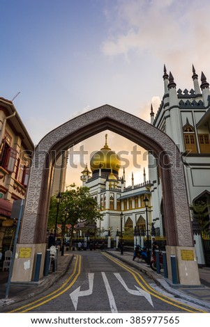 Singapore, 01 Mar 2016: Historical and grand Sultan Mosque at sunset. Popular tourist destination. - stock photo