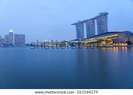 Singapore - MAR 20 : Nightscape of Singapore Marina Bay Sand on March 20,2015 in Singapore. Marina Bay Sands is billed as the world's most expensive standalone casino property at S$8 billion.