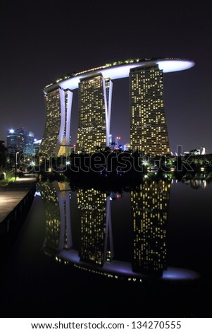 SINGAPORE - MAR 10: Reflection view of the Marina Bay Sands, the World's most expensive standalone casino property in Singapore on MAR 10, 2013