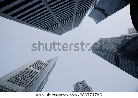 SINGAPORE - MAR 21 : View of skyscrapers in Marina Bay on March 21,2015 in Singapore. Singapore is the world's fourth leading financial centre. - stock photo