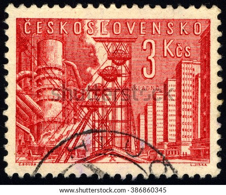 SINGAPORE - MARCH 7, 2016: A stamp printed in Czechoslovakia shows Industrial Scene, circa 1966 - stock photo