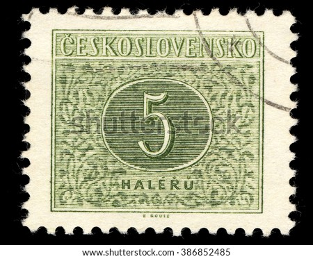 SINGAPORE - MARCH 7, 2016: A stamp printed in Czechoslovakia shows Numbers Five Drawing, Postage Due Stamps series, circa 1954 - stock photo