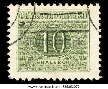 SINGAPORE - MARCH 7, 2016: A stamp printed in Czechoslovakia shows Numbers Ten Drawing, Postage Due Stamps series, circa 1954 - stock photo