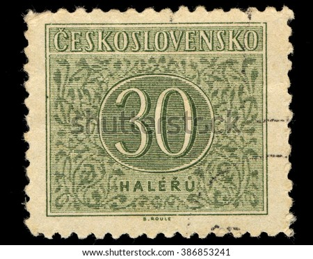 SINGAPORE - MARCH 7, 2016: A stamp printed in Czechoslovakia shows Numbers Thirty Drawing, Postage Due Stamps series, circa 1954 - stock photo