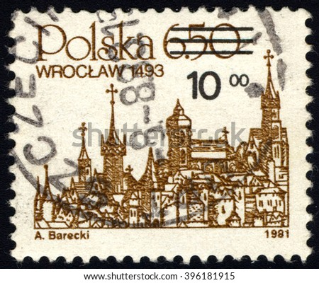SINGAPORE - MARCH 26, 2016: A stamp printed in Poland shows City Landmark of Wroclaw, 1493, circa 1981. - stock photo
