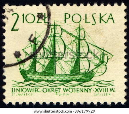 SINGAPORE - MARCH 26, 2016: A stamp printed in Poland shows Line ship XVIII century, Sailing Ships series, circa 1964 - stock photo