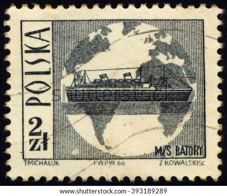 SINGAPORE - MARCH 20, 2016: A stamp printed in Poland shows to commemorate Tourism series shows Globe and ocean liner MS Batory, circa 1966 - stock photo