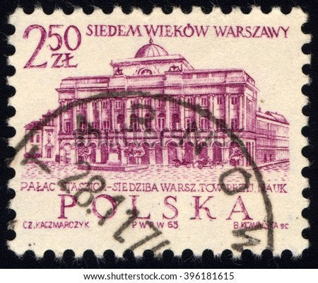 SINGAPORE - MARCH 26, 2016: A stamp printed in Poland to commemorate 700th Anniversary of Warsaw shows Staszic Palace, circa 1965. - stock photo