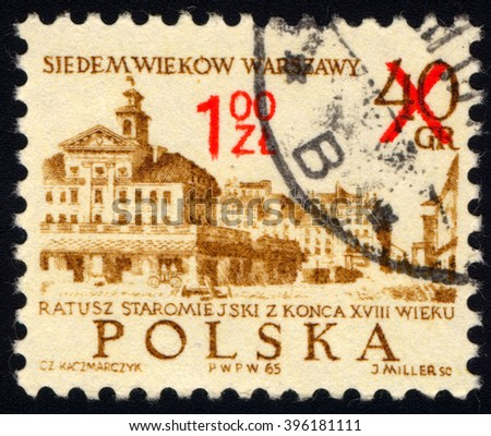 SINGAPORE - MARCH 26, 2016: A stamp printed in Poland to commemorate UNESCO World Heritage shows 18th Century Old Town Hall, circa 1965. - stock photo