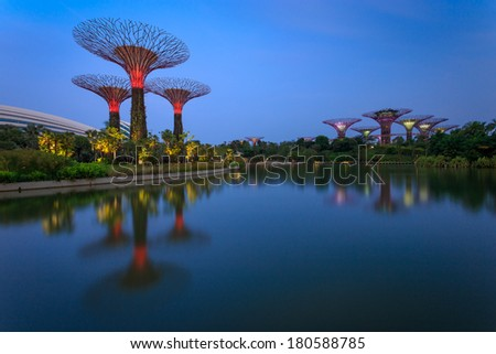 singapore march 8 a sunset view of the supertrees grove cloud forest