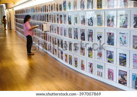 SINGAPORE - MARCH 23, 2016: Boutique Library in Singapore, Library orchard a public library with a ?focus on design and applied arts.