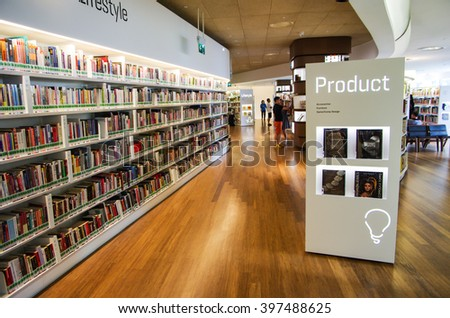 SINGAPORE - MARCH 23, 2016: Boutique Library in Singapore, Library orchard a public library with a focus on design and applied arts. - stock photo