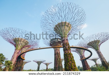SINGAPORE - MARCH 09: Gardens by the Bay on March 09, 2014 in Singapore. Gardens by the Bay was crowned World Building of the Year at the World Architecture Festival 2012 - stock photo