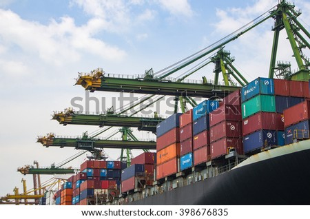 SINGAPORE - MARCH 24, 2016 : import and export container box at Port Keppel, Singapore. - stock photo