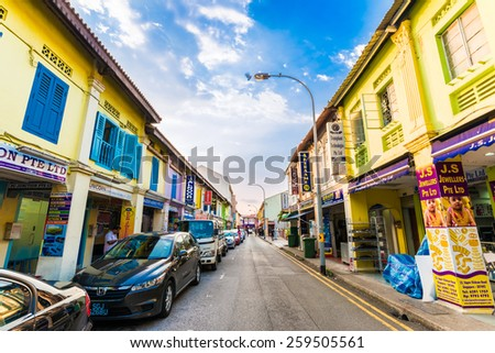 SINGAPORE - MARCH 5: Little India district on March 5, 2015 in Singapore. Little India  is Singaporean neighbourhood east of the Singapore River - stock photo